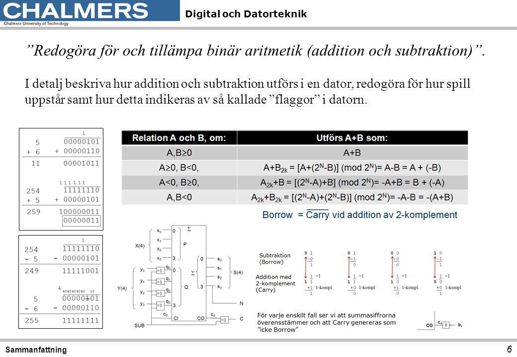 Digital och Datorteknik 17 Sammanfattning Använda D-, T- och JK- vippor för konstruktion av minneselement och räknare. Kunna beskriva symboler för latchar typ SR och D, vippor av typ SR, D, JK och T, kunna beskriva dess respektive funktion i termer av funktions- och exitations- tabeller.