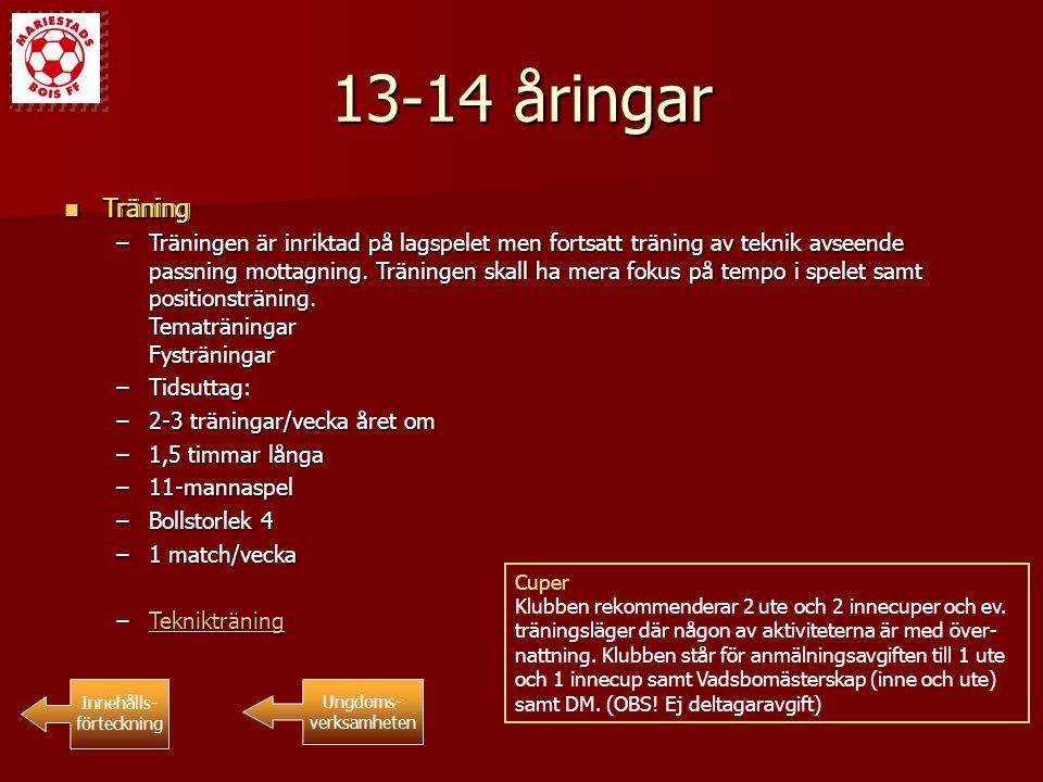 13-14 åringar Träning Träning Innehålls- förteckning Ungdoms- verksamheten Träning Träning –Träningen är inriktad på lagspelet men fortsatt träning av