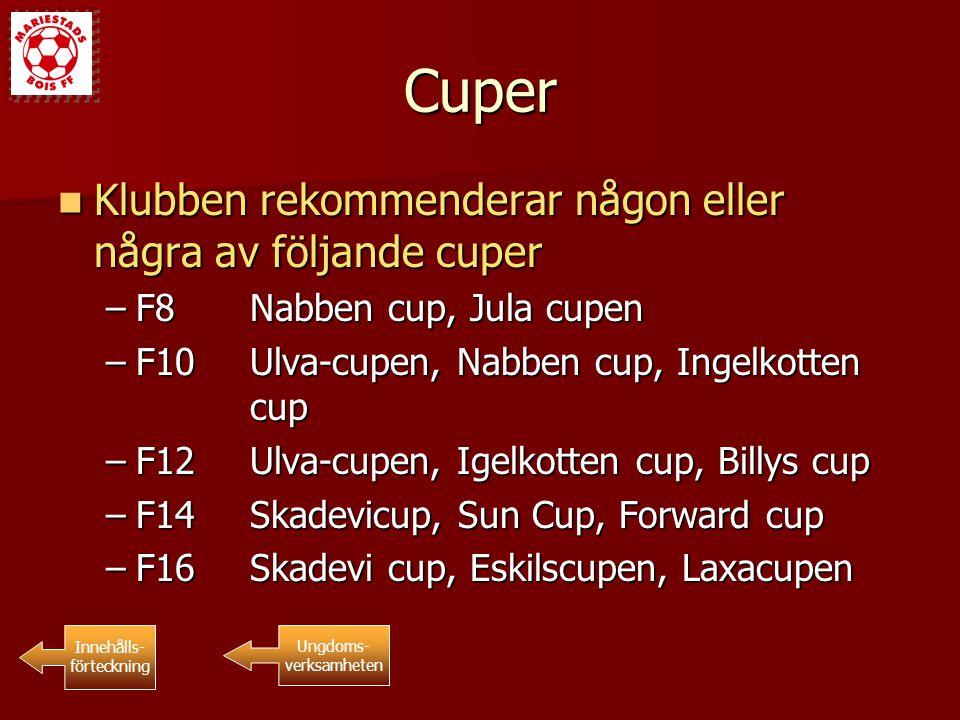 Cuper Klubben rekommenderar någon eller några av följande cuper Klubben rekommenderar någon eller några av följande cuper –F8Nabben cup, Jula cupen –F