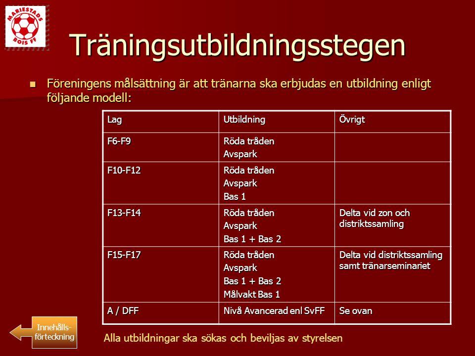 Träningsutbildningsstegen Föreningens målsättning är att tränarna ska erbjudas en utbildning enligt följande modell: Föreningens målsättning är att tr