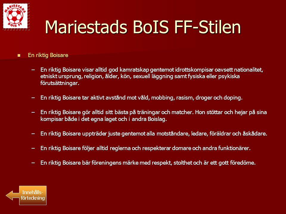 Zon/Distriktslag Deltagande i Zon/Distriktslag Deltagande i Zon/Distriktslag –Mariestads BoIS FF ser varje chans för våra spelare att deltaga i Zon/Distriktslag som positivt.