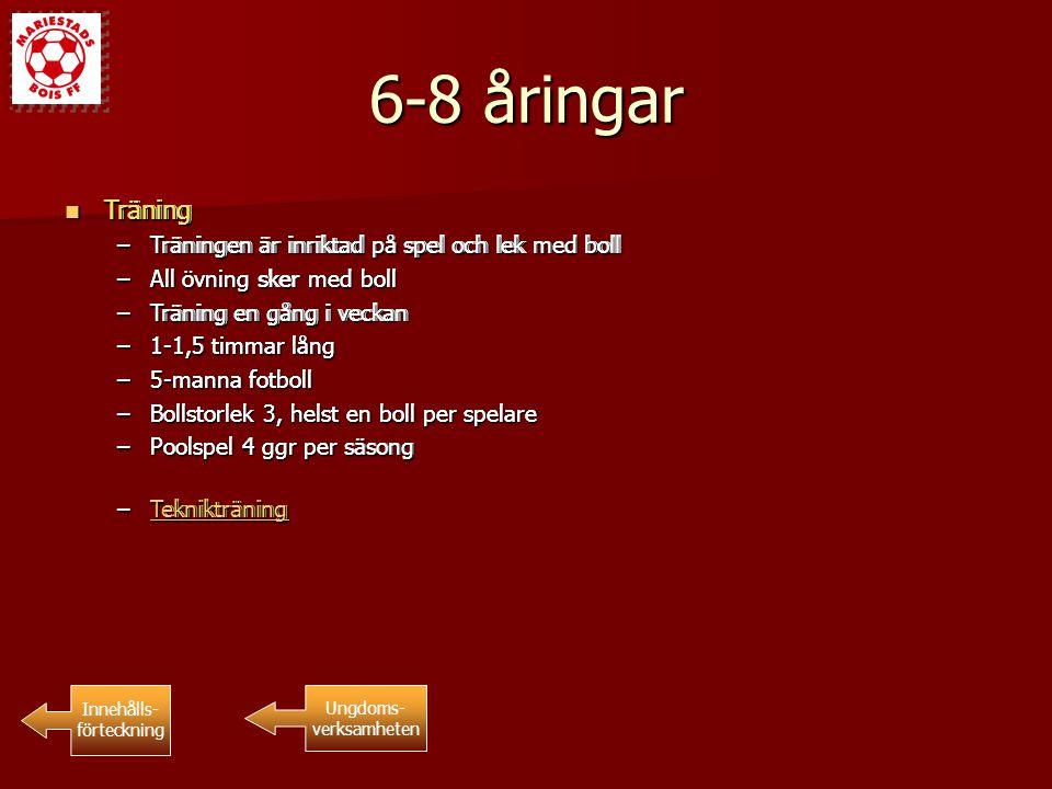 15-16 åringar Träning Träning Innehålls- förteckning Ungdoms- verksamheten Träning Träning –Träningen är fokuserad till lagspelet, taktik samt viss konditionshöjande träning.