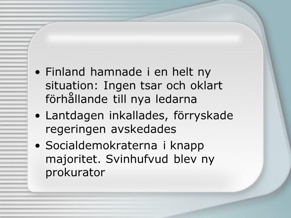 Finland hamnade i en helt ny situation: Ingen tsar och oklart förhållande till nya ledarna Lantdagen inkallades, förryskade regeringen avskedades Soci