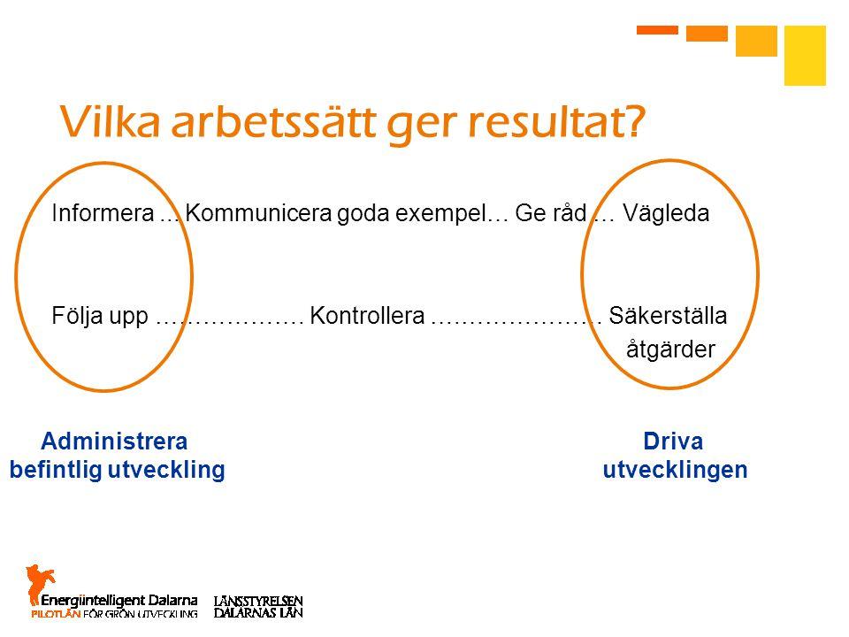Vilka arbetssätt ger resultat? Informera... Kommunicera goda exempel… Ge råd … Vägleda Följa upp ………………. Kontrollera ….……………… Säkerställa åtgärder Adm
