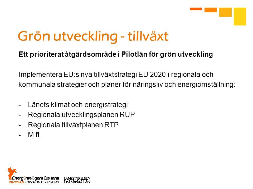 Grön utveckling - tillväxt Ett prioriterat åtgärdsområde i Pilotlän för grön utveckling Implementera EU:s nya tillväxtstrategi EU 2020 i regionala och kommunala strategier och planer för näringsliv och energiomställning: -Länets klimat och energistrategi -Regionala utvecklingsplanen RUP -Regionala tillväxtplanen RTP -M fl.