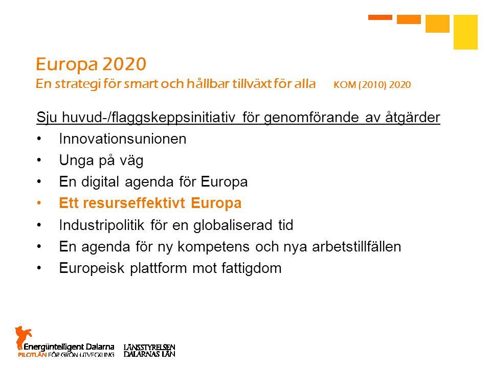 Europa 2020 En strategi för smart och hållbar tillväxt för alla KOM (2010) 2020 Sju huvud-/flaggskeppsinitiativ för genomförande av åtgärder Innovationsunionen Unga på väg En digital agenda för Europa Ett resurseffektivt Europa Industripolitik för en globaliserad tid En agenda för ny kompetens och nya arbetstillfällen Europeisk plattform mot fattigdom