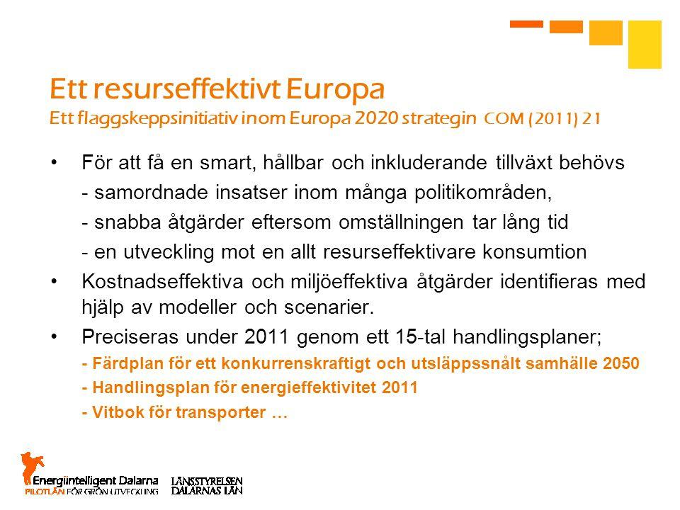 Ett resurseffektivt Europa Ett flaggskeppsinitiativ inom Europa 2020 strategin COM (2011) 21 För att få en smart, hållbar och inkluderande tillväxt behövs - samordnade insatser inom många politikområden, - snabba åtgärder eftersom omställningen tar lång tid - en utveckling mot en allt resurseffektivare konsumtion Kostnadseffektiva och miljöeffektiva åtgärder identifieras med hjälp av modeller och scenarier.