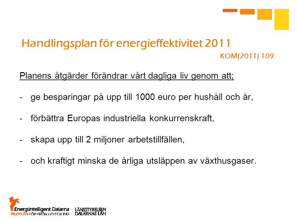 Handlingsplan för energieffektivitet 2011 KOM(2011) 109 Planens åtgärder förändrar vårt dagliga liv genom att; -ge besparingar på upp till 1000 euro per hushåll och år, -förbättra Europas industriella konkurrenskraft, -skapa upp till 2 miljoner arbetstillfällen, -och kraftigt minska de årliga utsläppen av växthusgaser.