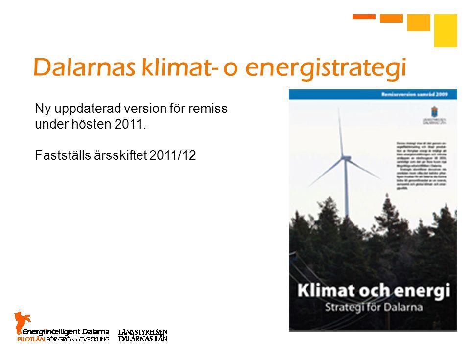 Ny uppdaterad version för remiss under hösten 2011. Fastställs årsskiftet 2011/12 Dalarnas klimat- o energistrategi