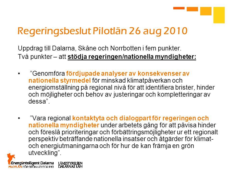 Regeringsbeslut Pilotlän 26 aug 2010 Uppdrag till Dalarna, Skåne och Norrbotten i fem punkter. Två punkter – att stödja regeringen/nationella myndighe