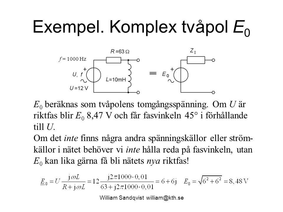 Exempel. Komplex tvåpol E 0 E 0 beräknas som tvåpolens tomgångsspänning. Om U är riktfas blir E 0 8,47 V och får fasvinkeln 45  i förhållande till U.