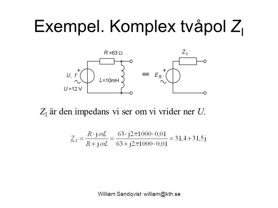 Exempel. Komplex tvåpol Z I Z I är den impedans vi ser om vi vrider ner U. William Sandqvist william@kth.se