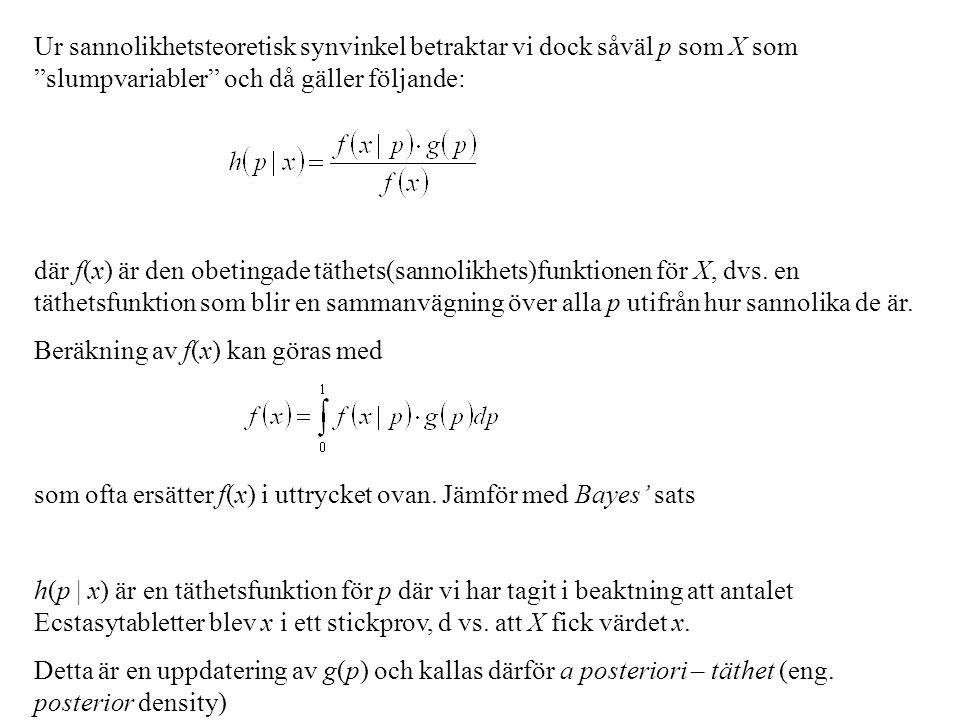 """Ur sannolikhetsteoretisk synvinkel betraktar vi dock såväl p som X som """"slumpvariabler"""" och då gäller följande: där f(x) är den obetingade täthets(san"""