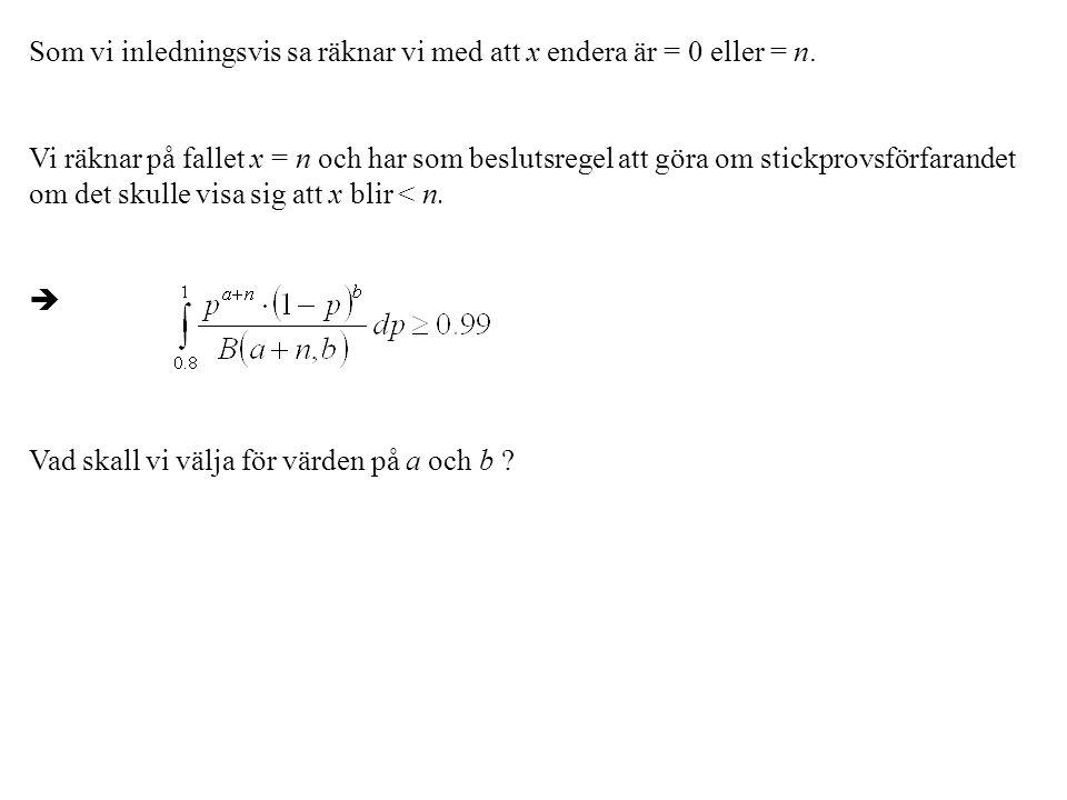 Som vi inledningsvis sa räknar vi med att x endera är = 0 eller = n. Vi räknar på fallet x = n och har som beslutsregel att göra om stickprovsförfaran