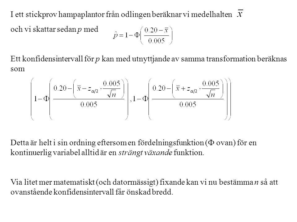 I stället för att beräkna ett konfidensintervall för p baserat enbart på data i stickprovet använder vi nu h(p | x) för att konstruera ett s.k.