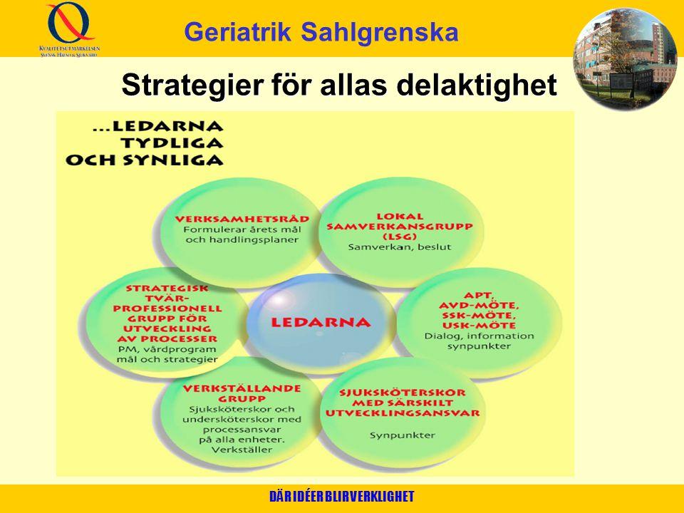 DÄR IDÉER BLIR VERKLIGHET Strategier för allas delaktighet Geriatrik Sahlgrenska