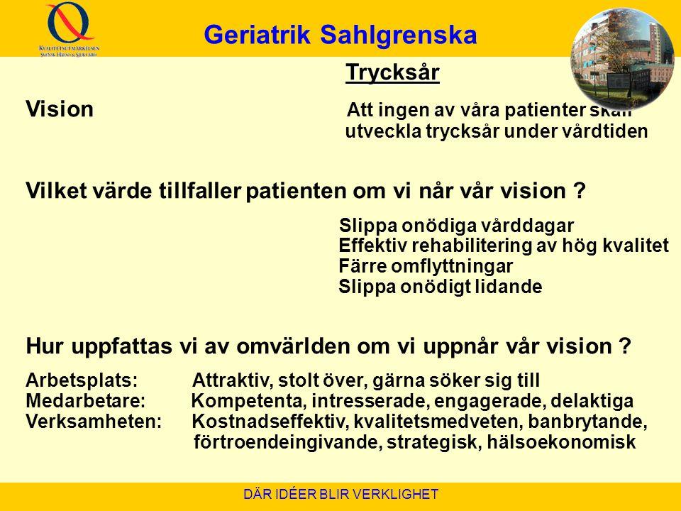 Geriatrik Sahlgrenska DÄR IDÉER BLIR VERKLIGHET Trycksår Vision Att ingen av våra patienter skall utveckla trycksår under vårdtiden Vilket värde tillf