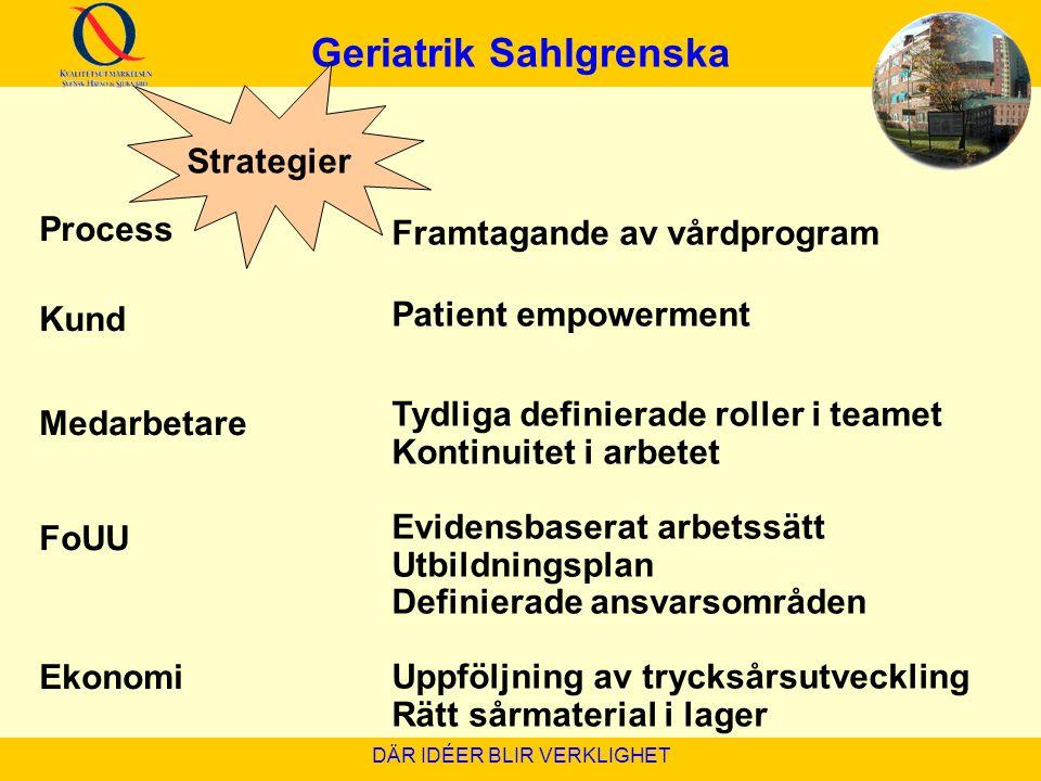 Geriatrik Sahlgrenska DÄR IDÉER BLIR VERKLIGHET Framtagande av vårdprogram Patient empowerment Tydliga definierade roller i teamet Kontinuitet i arbet