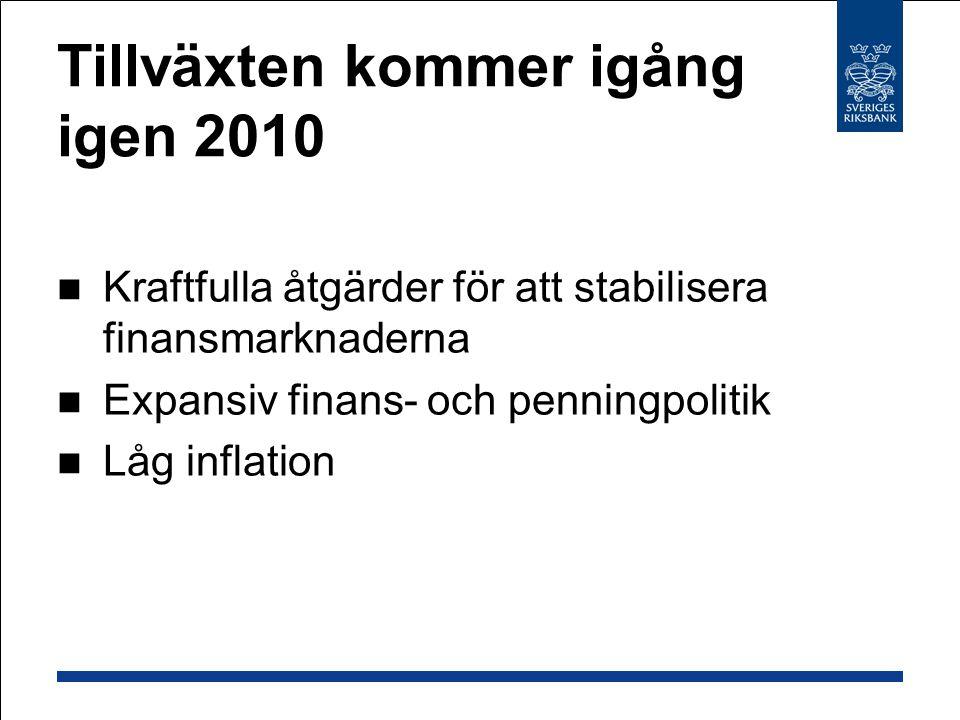 Tillväxten kommer igång igen 2010 Kraftfulla åtgärder för att stabilisera finansmarknaderna Expansiv finans- och penningpolitik Låg inflation