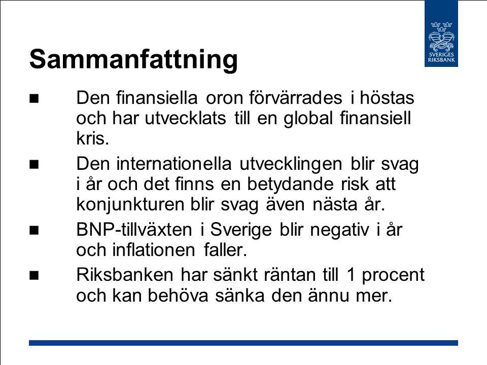 Sammanfattning Den finansiella oron förvärrades i höstas och har utvecklats till en global finansiell kris. Den internationella utvecklingen blir svag