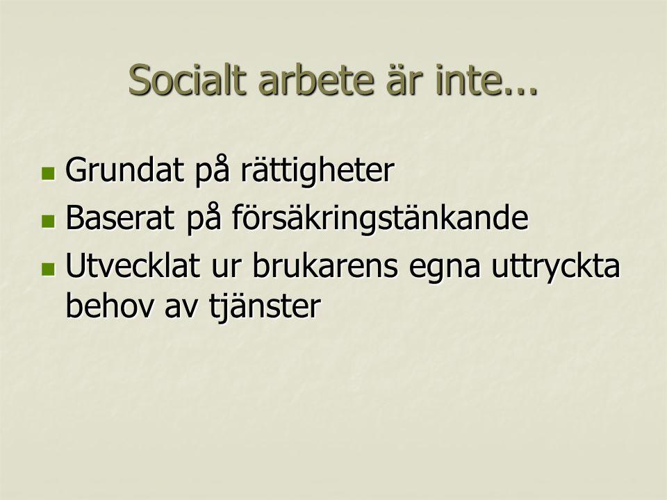 Socialt arbete är inte...