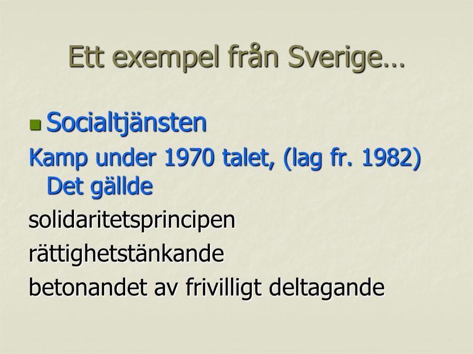 Ett exempel från Sverige… Socialtjänsten Socialtjänsten Kamp under 1970 talet, (lag fr.