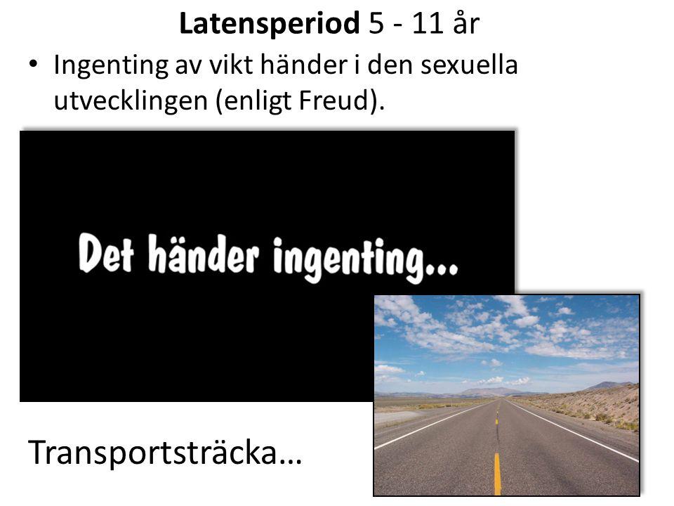 Latensperiod 5 - 11 år Ingenting av vikt händer i den sexuella utvecklingen (enligt Freud). Transportsträcka…