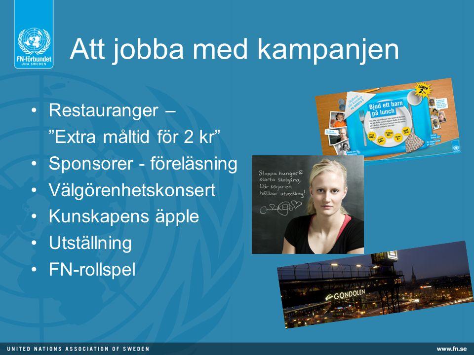 Att jobba med kampanjen Restauranger – Extra måltid för 2 kr Sponsorer - föreläsning Välgörenhetskonsert Kunskapens äpple Utställning FN-rollspel