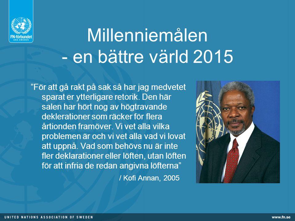 Millenniemålen - en bättre värld 2015 För att gå rakt på sak så har jag medvetet sparat er ytterligare retorik.