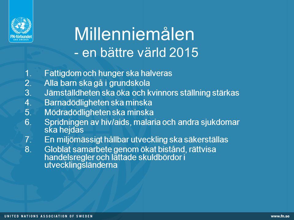 Millenniemålen - en bättre värld 2015 1.Fattigdom och hunger ska halveras 2.Alla barn ska gå i grundskola 3.Jämställdheten ska öka och kvinnors ställning stärkas 4.Barnadödligheten ska minska 5.Mödradödligheten ska minska 6.Spridningen av hiv/aids, malaria och andra sjukdomar ska hejdas 7.En miljömässigt hållbar utveckling ska säkerställas 8.Globlat samarbete genom ökat bistånd, rättvisa handelsregler och lättade skuldbördor i utvecklingsländerna