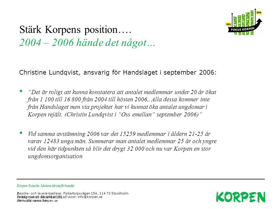 Korpen Svenska Motionsidrottsförbundet Besöks- och leveransadress: Fiskartorpsvägen 15A, 114 73 Stockholm Telefon växel: 08-699 60 00 E-post: info@korpen.se Hemsida: www.korpen.se Stärk Korpens position….