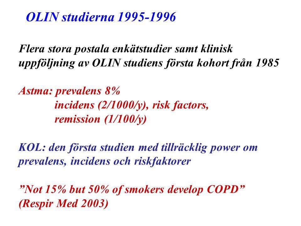 OLIN studierna 1995-1996 Flera stora postala enkätstudier samt klinisk uppföljning av OLIN studiens första kohort från 1985 Astma: prevalens 8% incide