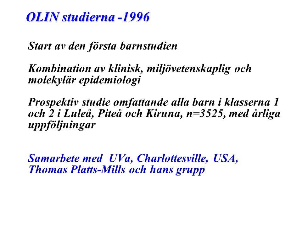 OLIN studierna -1996 Start av den första barnstudien Kombination av klinisk, miljövetenskaplig och molekylär epidemiologi Prospektiv studie omfattande