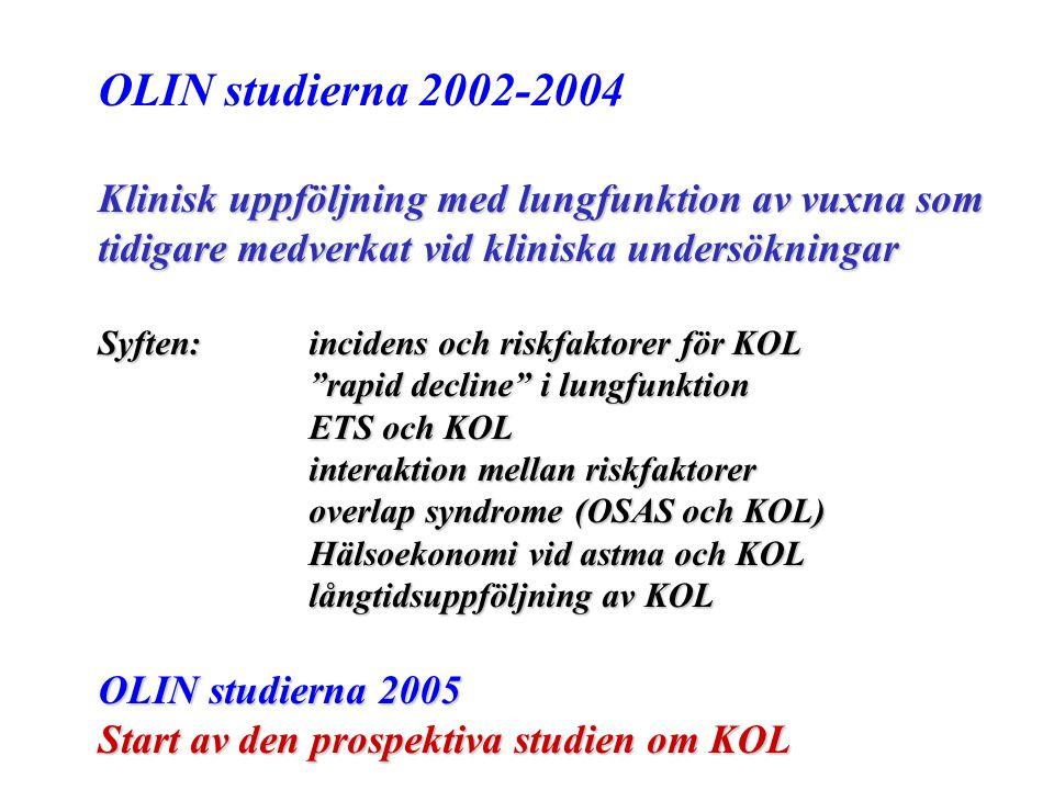 OLIN studierna 2002-2004 Klinisk uppföljning med lungfunktion av vuxna som tidigare medverkat vid kliniska undersökningar Syften: incidens och riskfak