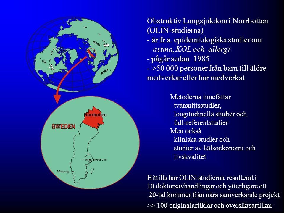 The OLIN Studies: First published Swedish results of - Prevalence of adult asthma using methods including validation of results - Incidence of asthma in adults - Remission of asthma in adults - Incidence of asthma in children - Incidence of allergic sensitisation in children - Prevalence of COPD - Prevalence of COPD using different international guidelines - Incidence of COPD - Long term (20 y) follow-up of COPD - Population study based health economics of asthma and COPD - Överensstämmelse mellan föräldra- och självbesvarade enkäter