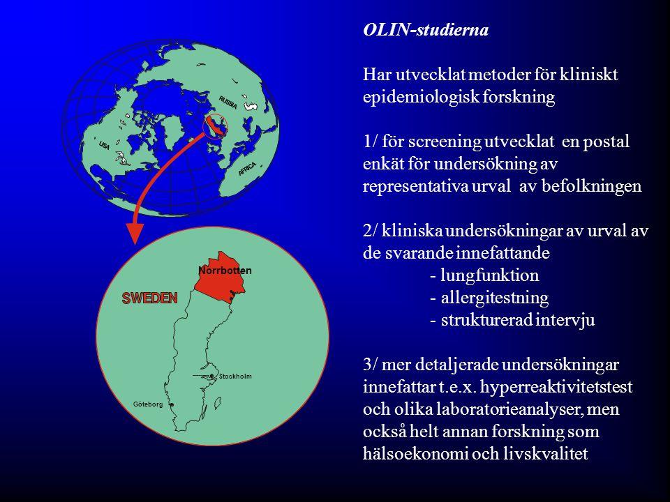 The OLIN Studies: First published Swedish results of - Prevalence of adult asthma using methods including validation of results Lundbäck et al, ERJ 1991; Eur J Epidemiol 1992; Allergy 1993 - Incidence of asthma in adults Rönmark et al, Allergy 1997; (Lundbäck et al, Respir Med 2001) - Remission of asthma in adults Rönmark et al, Thorax 1999 - Incidence of asthma in children Rönmark et al, Pediatrics 2001; Perzowski et al, AJRCCM 2002 - Incidence of allergic sensitisation in children Rönmark et al, JACI 2003 - Prevalence of COPD Lundbäck et al, Respir Med 2003 - Prevalence of COPD using different international guidelines Lindberg et al, Respiration 2005 - Incidence of COPD Lindberg et at, Chest 2005; Chest 2006 -Long term follow-up (20 y) of COPD Lundbäck et al, COPD 2009 - Population study based health economics of asthma and COPD Jansson et al, Chest 2002 (COPD); Respir Med 2007 (asthma) - Överensstämmelse mellan föräldra- och självbesvarade enkäter Hedman et al, Pediatr All Immunol 2005; J Clin Epidemiol 2010