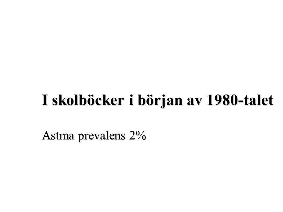 I skolböcker i början av 1980-talet Astma prevalens 2%