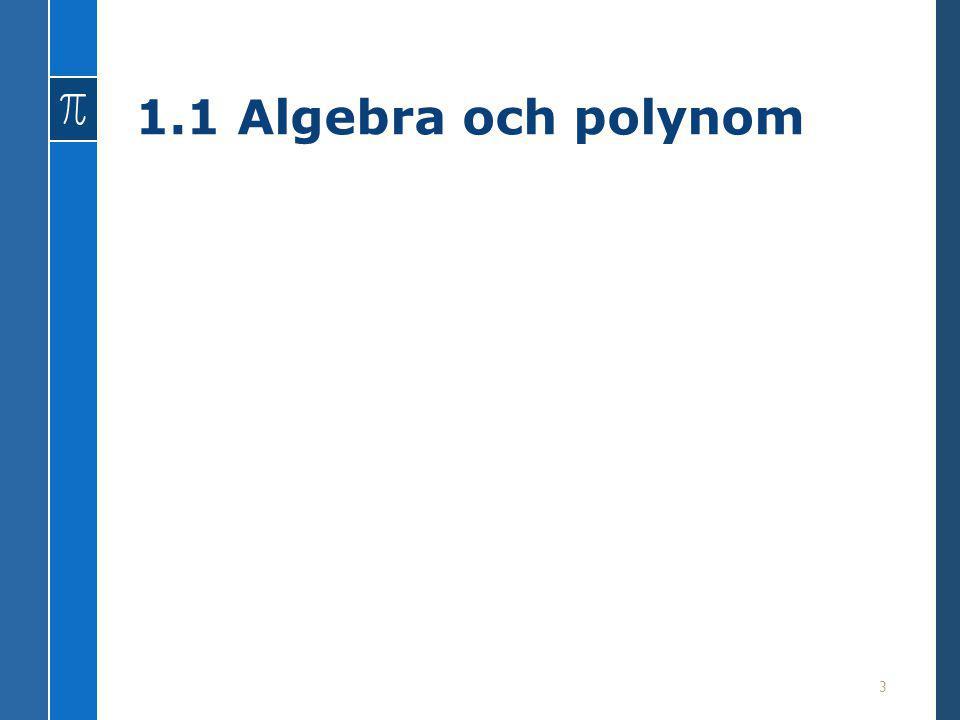 1.1 Algebra och polynom 3