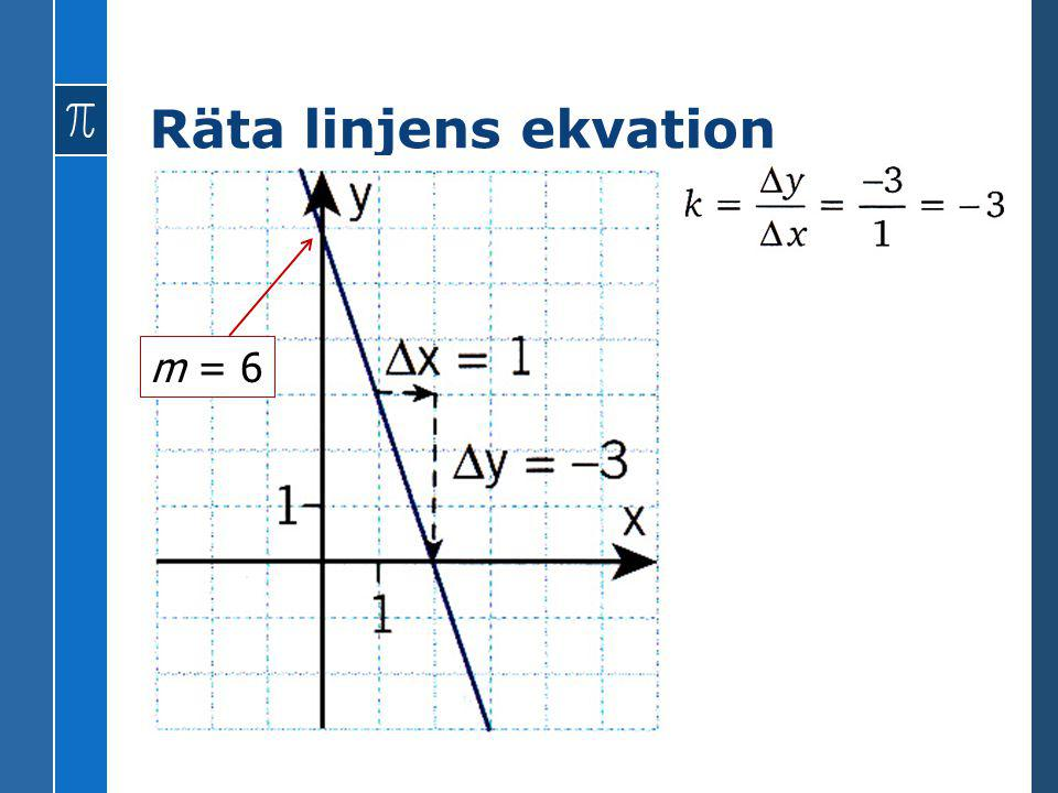 Räta linjens ekvation m = 6