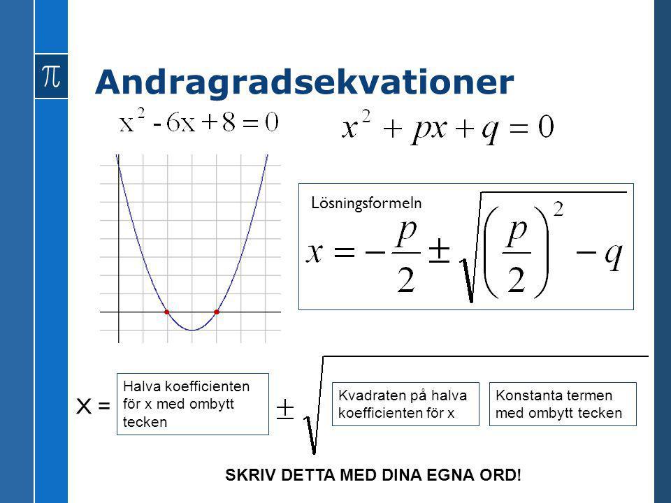 Halva koefficienten för x med ombytt tecken X = Kvadraten på halva koefficienten för x Konstanta termen med ombytt tecken Lösningsformeln SKRIV DETTA
