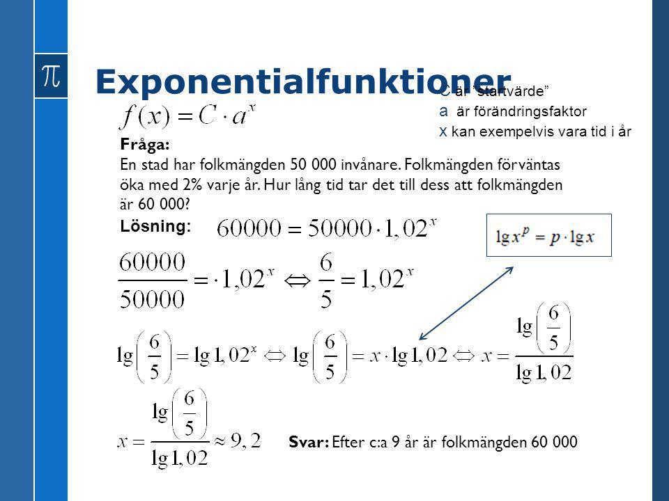 Exponentialfunktioner Fråga: En stad har folkmängden 50 000 invånare. Folkmängden förväntas öka med 2% varje år. Hur lång tid tar det till dess att fo