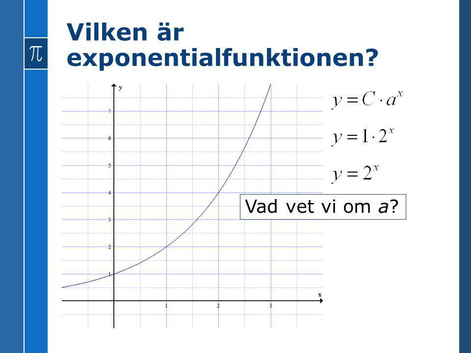Vilken är exponentialfunktionen? Vad vet vi om a?