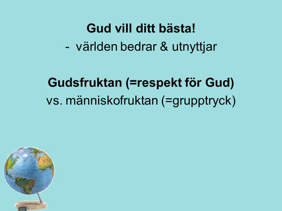Gud vill ditt bästa! -världen bedrar & utnyttjar Gudsfruktan (=respekt för Gud) vs. människofruktan (=grupptryck)