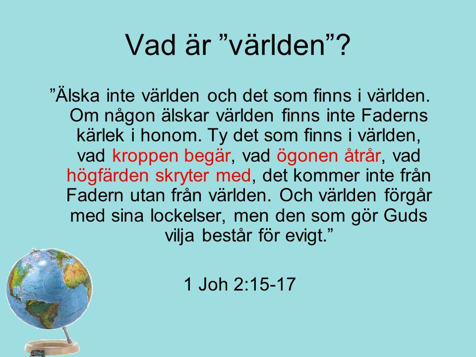 """Vad är """"världen""""? """"Älska inte världen och det som finns i världen. Om någon älskar världen finns inte Faderns kärlek i honom. Ty det som finns i värld"""