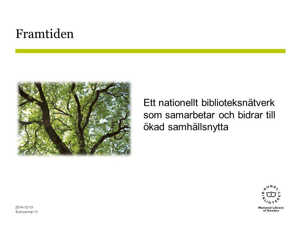 Sidnummer Framtiden Ett nationellt biblioteksnätverk som samarbetar och bidrar till ökad samhällsnytta 2014-12-13 11