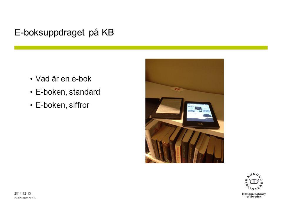 Sidnummer E-boksuppdraget på KB Vad är en e-bok E-boken, standard E-boken, siffror 2014-12-13 13