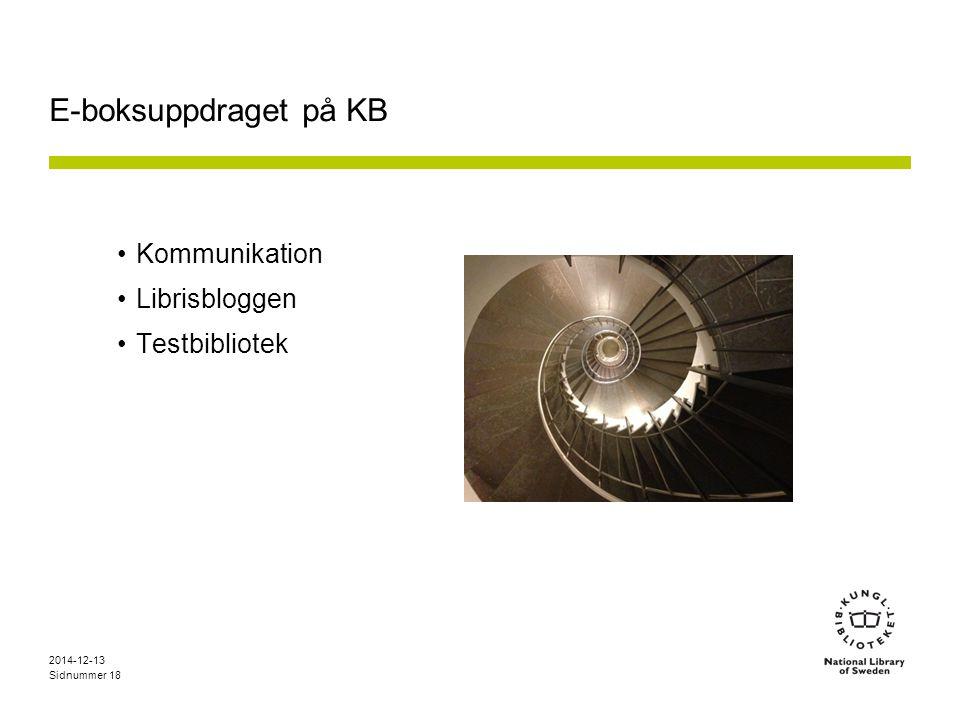 Sidnummer E-boksuppdraget på KB Kommunikation Librisbloggen Testbibliotek 2014-12-13 18