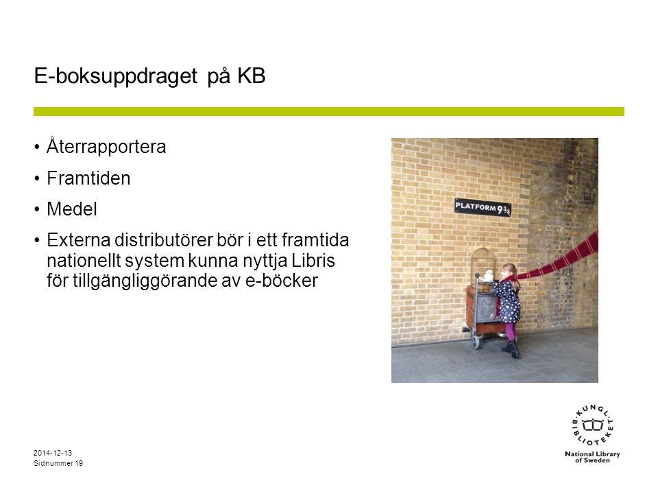 Sidnummer E-boksuppdraget på KB Återrapportera Framtiden Medel Externa distributörer bör i ett framtida nationellt system kunna nyttja Libris för tillgängliggörande av e-böcker 2014-12-13 19