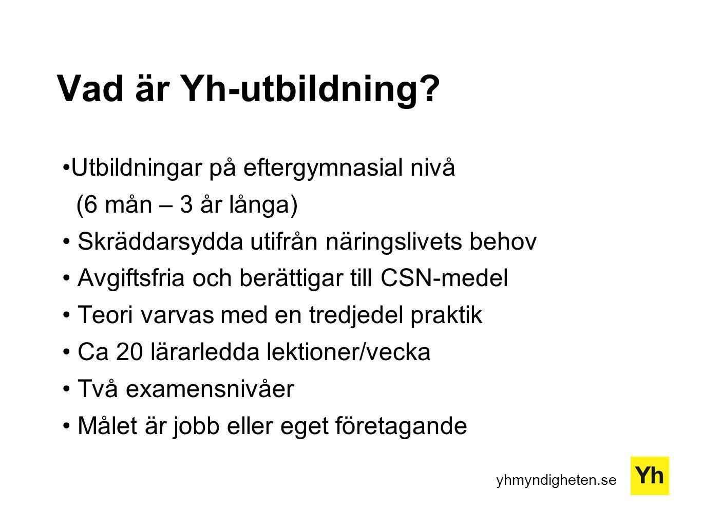 yhmyndigheten.se Vad är Yh-utbildning? Utbildningar på eftergymnasial nivå (6 mån – 3 år långa) Skräddarsydda utifrån näringslivets behov Avgiftsfria