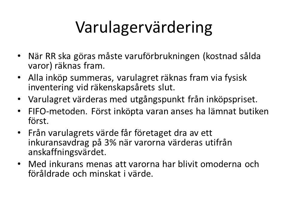 Forts.lagvervärdering LVP – lägsta värdets princip.